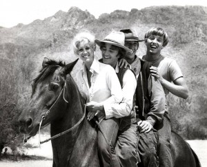 Deana Martin, Robert Walker Jr., David Carradine, and Chris Mitchum from Young Billy Young (1969)