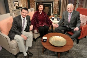 David Heeley and Joan Kramer with TCM's Robert Osborne on March 7 taping for the April 7 broadcast of their five documentaries