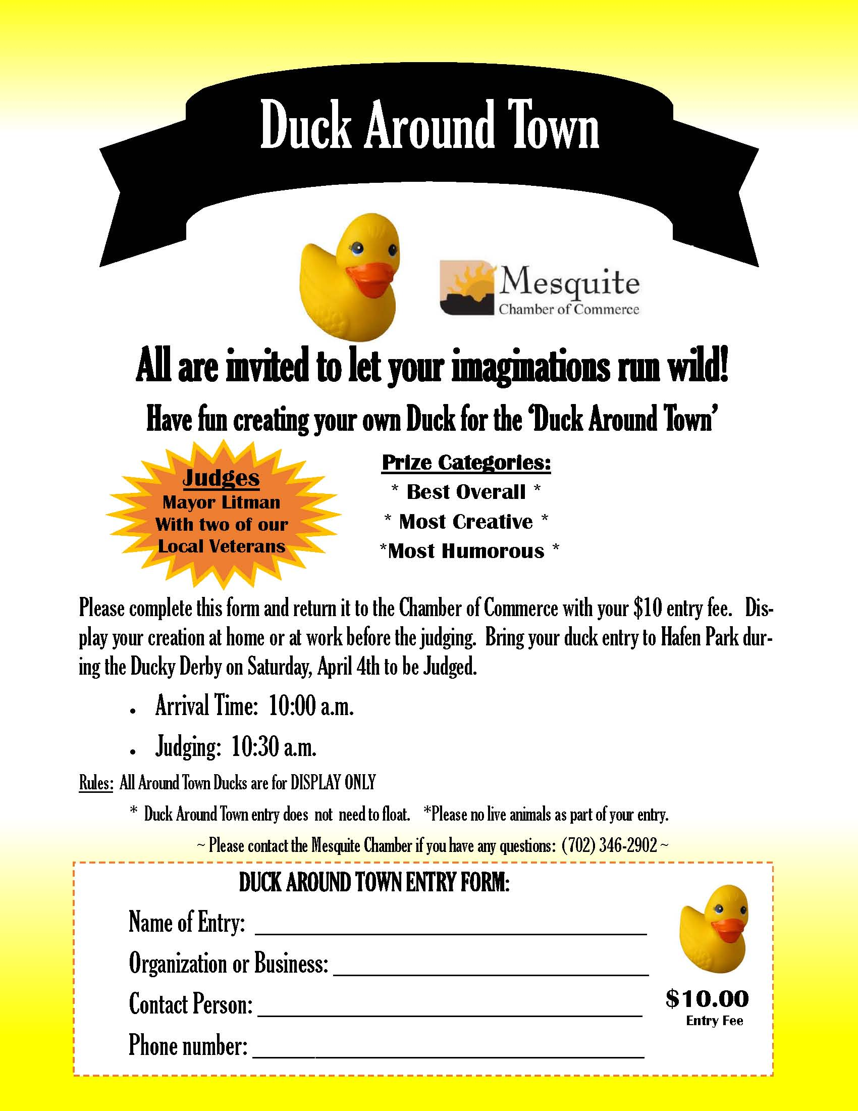 "Ducky Derby features ""Duck Around Town"" Contest"