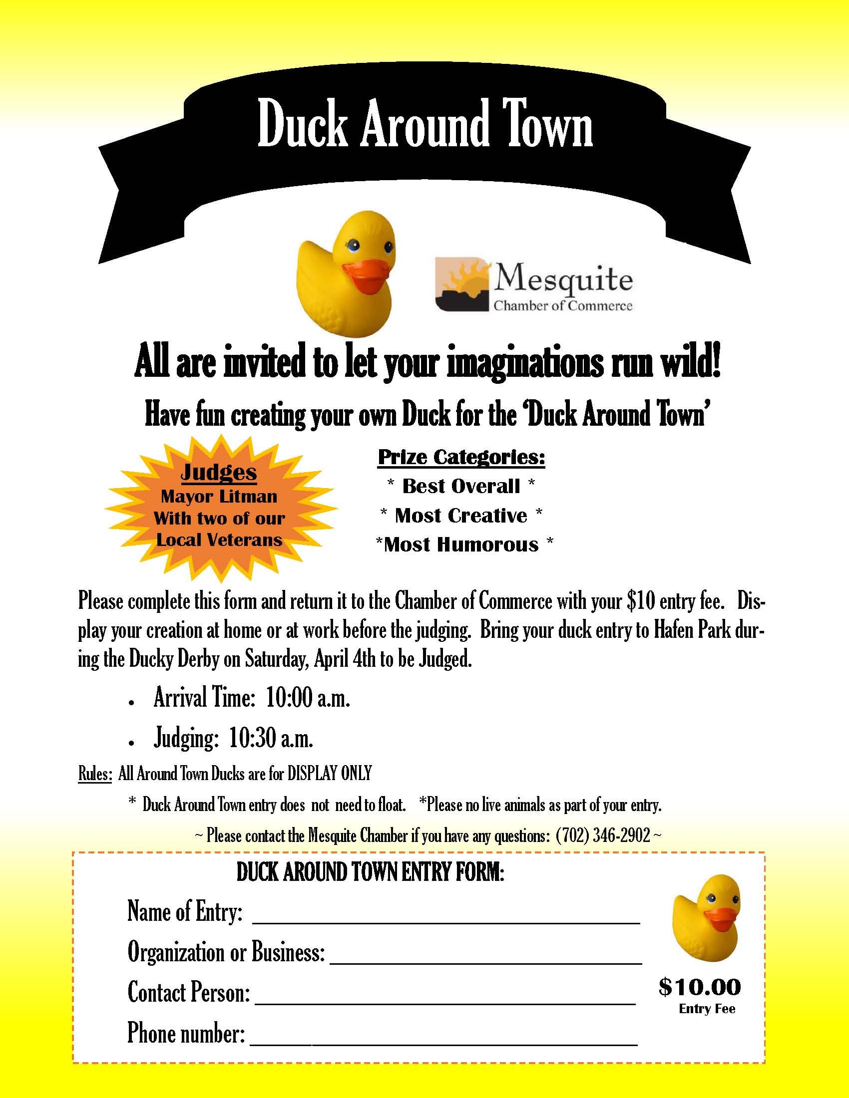 "Ducky Derby features ""Duck Around Town"" Contest"