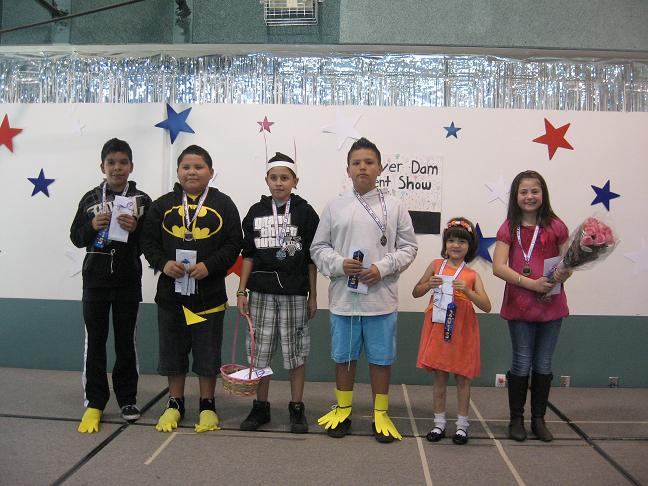 Talent show winners from left to right: Juan Soto, Miguel Kieyoani, Alex Gonzalez, Nathan Vicuna, Sage Lee and Gabreonna Valenzuela.