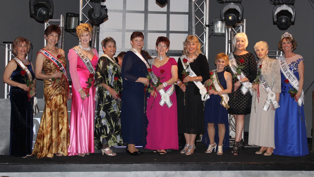 All of the attending former queens gathered for a photo together with founder and first queen, Jean Watkins, in the middle. Photo by Jim Lavender.