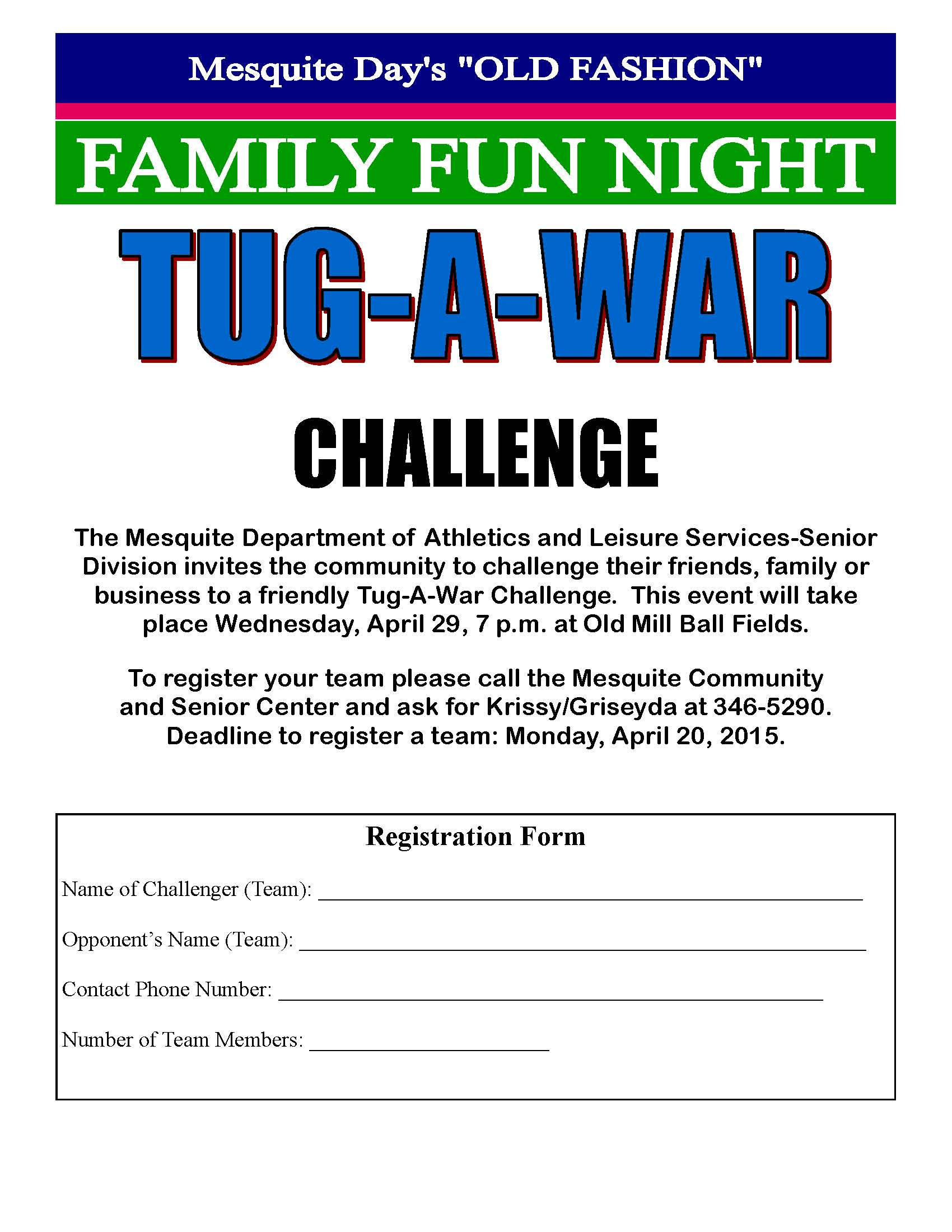 Family Fun Night looking for teams and sponsors