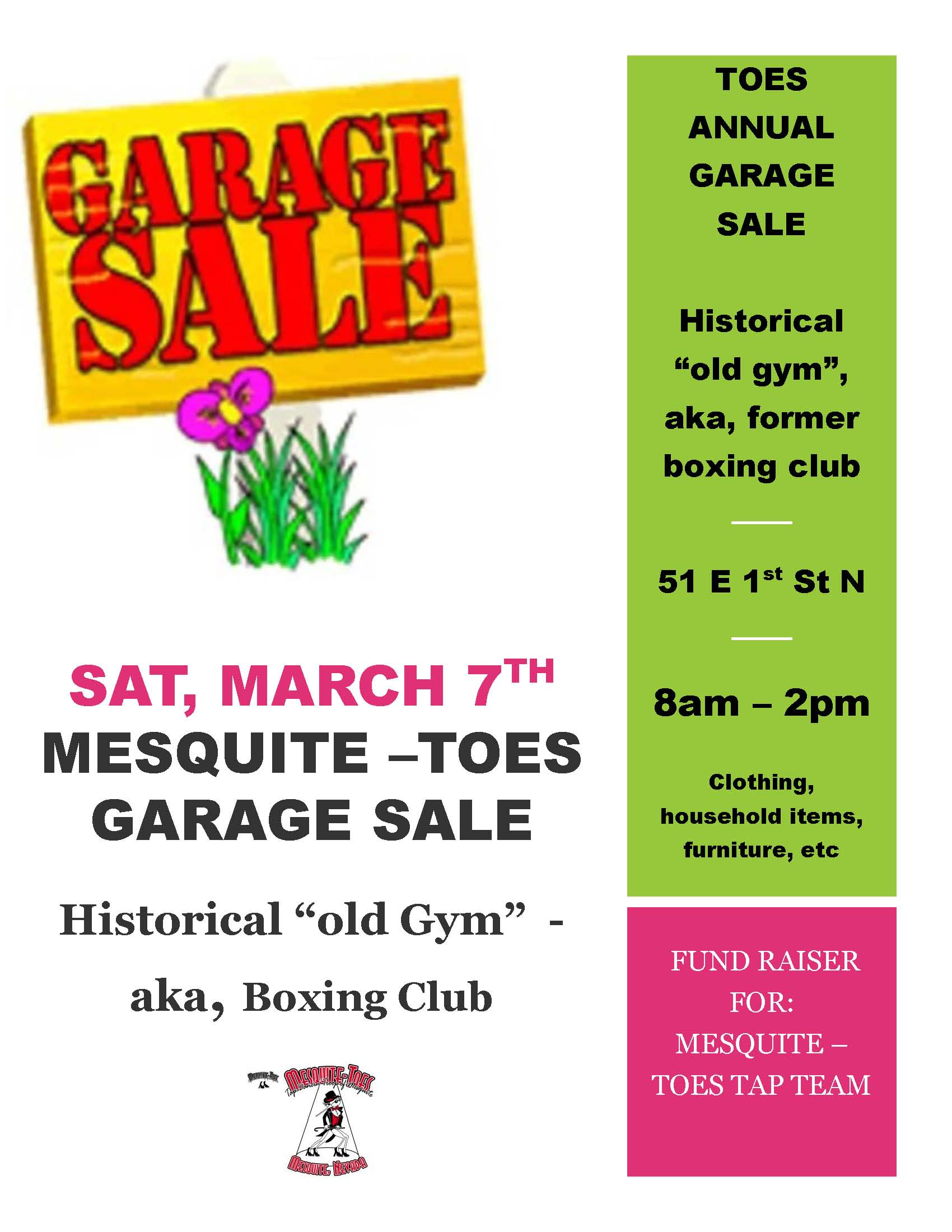 Mesquite Toes Fundraiser Garage Sale Tomorrow, March 7