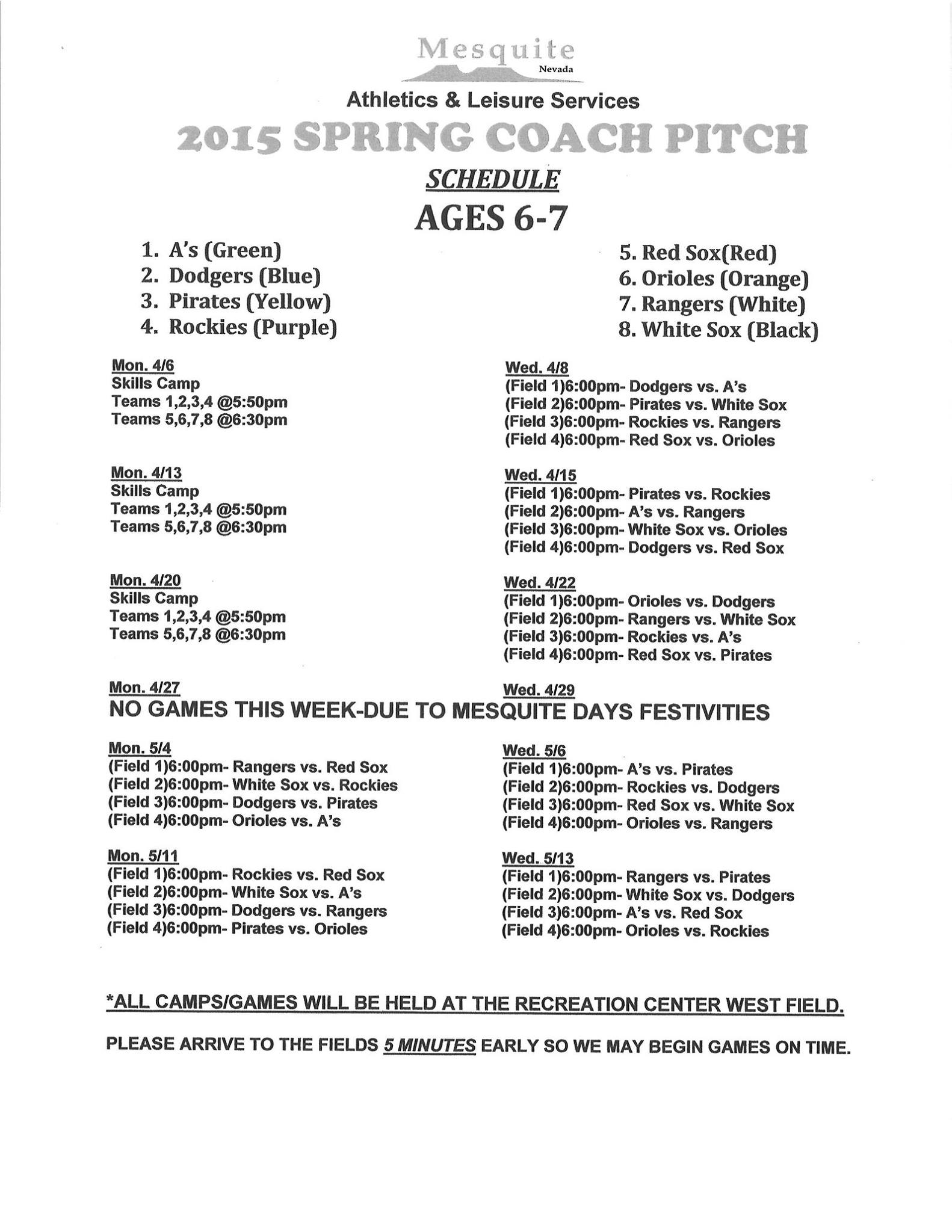 Rec Center Spring T-Ball Schedules