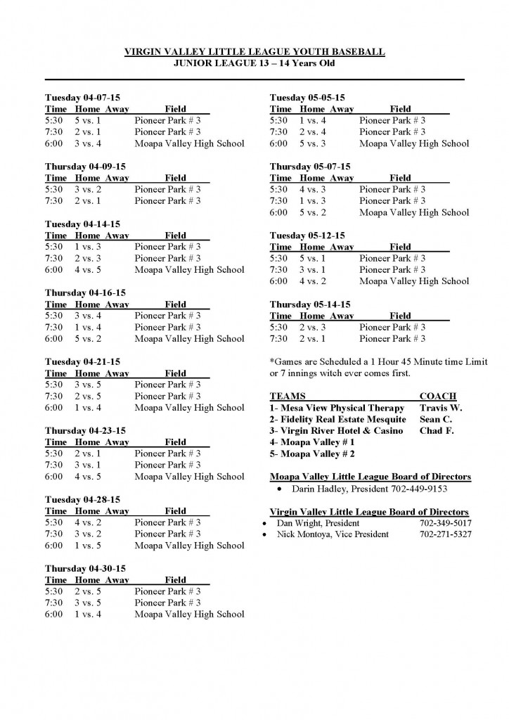 2015 Junior Boys League Schedule 13-14