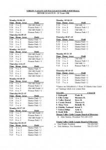 2015 Minor Girls League Schedule 8 - 11
