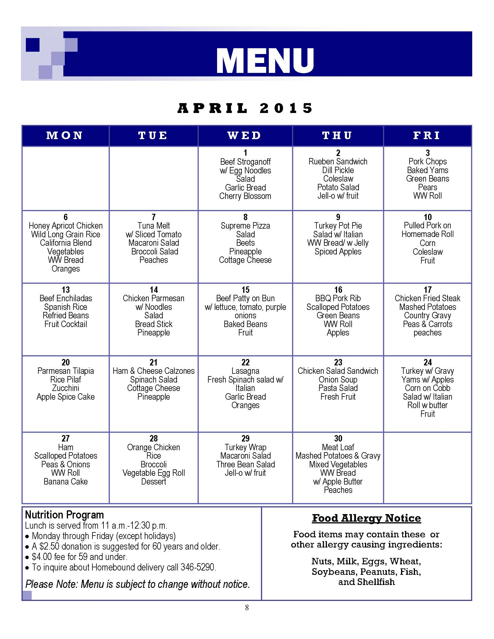 Senior Center Menu April 2015