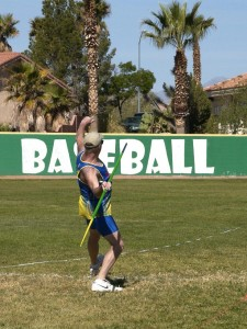 Art Morrow of Pam Desert, California takes his first attempt at the Javelin. Photo by Burton Weast