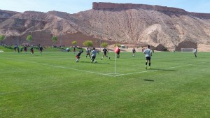 Dixie State University in blue, defending a UVU attack Saturday at the MSEC.
