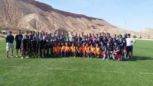 UVU and Dixie State University Players and Coaches in a post game photo op with players from FC Mesquite Crush.