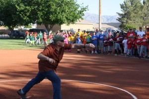 Mayor Al Litman shows his style throwing out the first pitch to highlight the season opener. Photo by Lou Martin