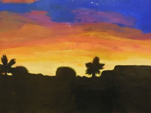 (2) Mesquite sights.  Students of various grade levels paint and draw  the world around them.