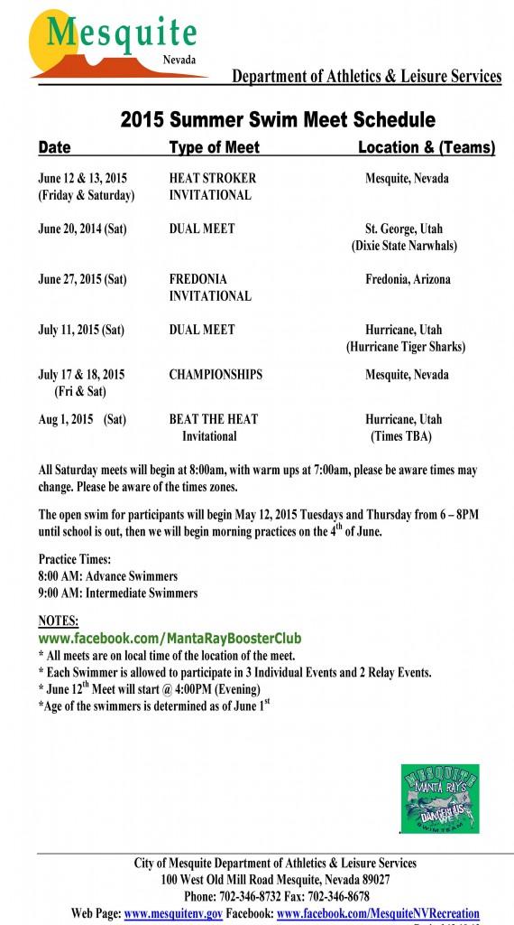 2015 Swim Meet Schedule