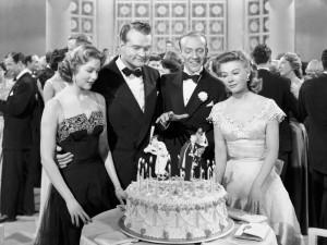 Still from Three Little Words - 1950 (L to R) Arlene Dahl, Red Skelton, Fred Astarie, and Vera-Ellen