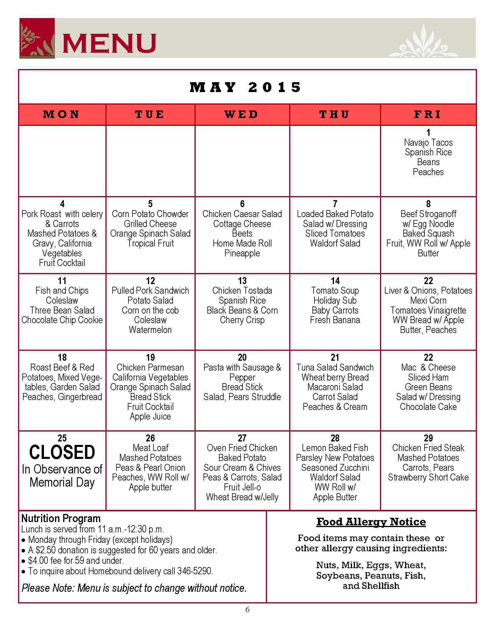 May 2015 Senior Center Menu