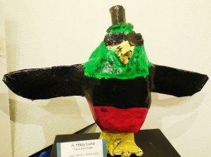 Hughes Middle School artist Hazy Luna constructed a fancy color eagle of paper mache