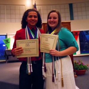 "Gabriel Rico Medina, Sara Jane Anderson and Kaitlyn Michelle Frump (not pictured) ""These kids received so many recognition and scholarship awards during the evening, one would have thought they were training for the Olympics,"" said one audience member toward the end of the ceremony. Photo by Teri Nehrenz."