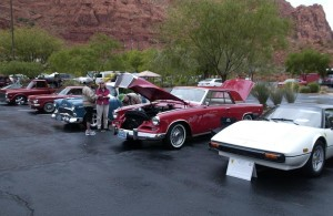 Mesquite Classic Car Club cars on display.  The best of show 1962 Studebaker Hawk GT in the middle.