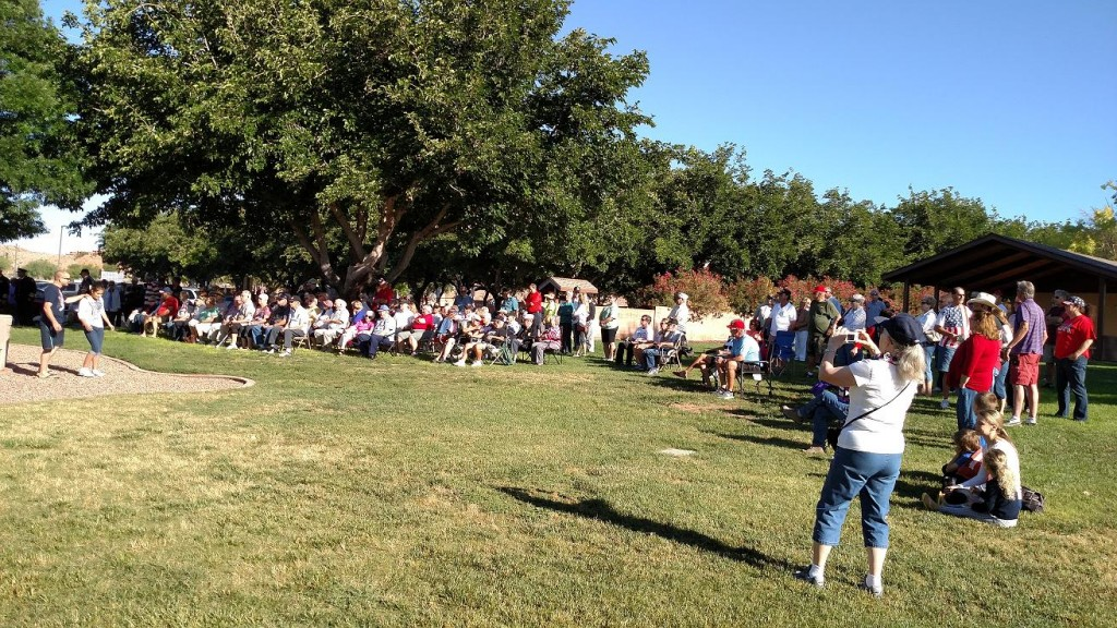 Mesquite saw its largest gathering for Memorial Day Services at Pioneer Park on Hillside Drive Monday, as nearly 200 people attended the morning services. Photo by Stephanie Frehner.