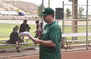 Dan Wright the master of ceremonies for the Little League. Photo by Burton Weast.