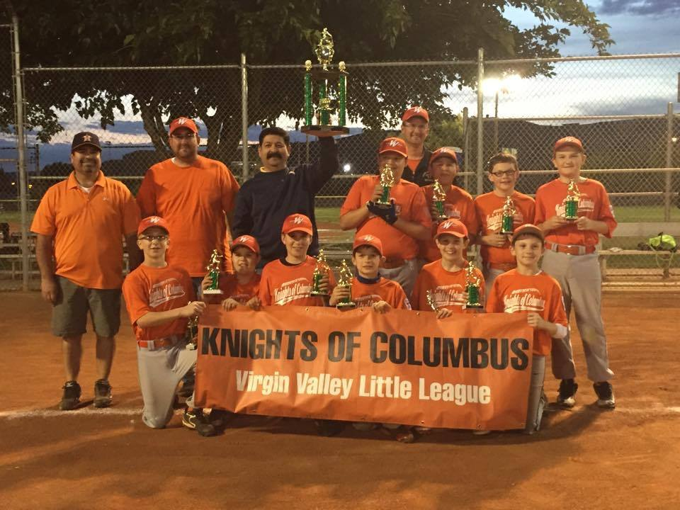 Knights of Columbus, who defeated Mesquite Sunrise Rotary 8-5 and are the 2015 Virgin Valley Little League Major Division Baseball Champions. Photo courtesy of Melinda Abbott/Facebook. Photo Courtesy of VVLL Facebook.