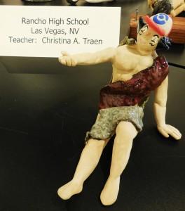 Rancho HS ceramics artist sculpted a reclining man