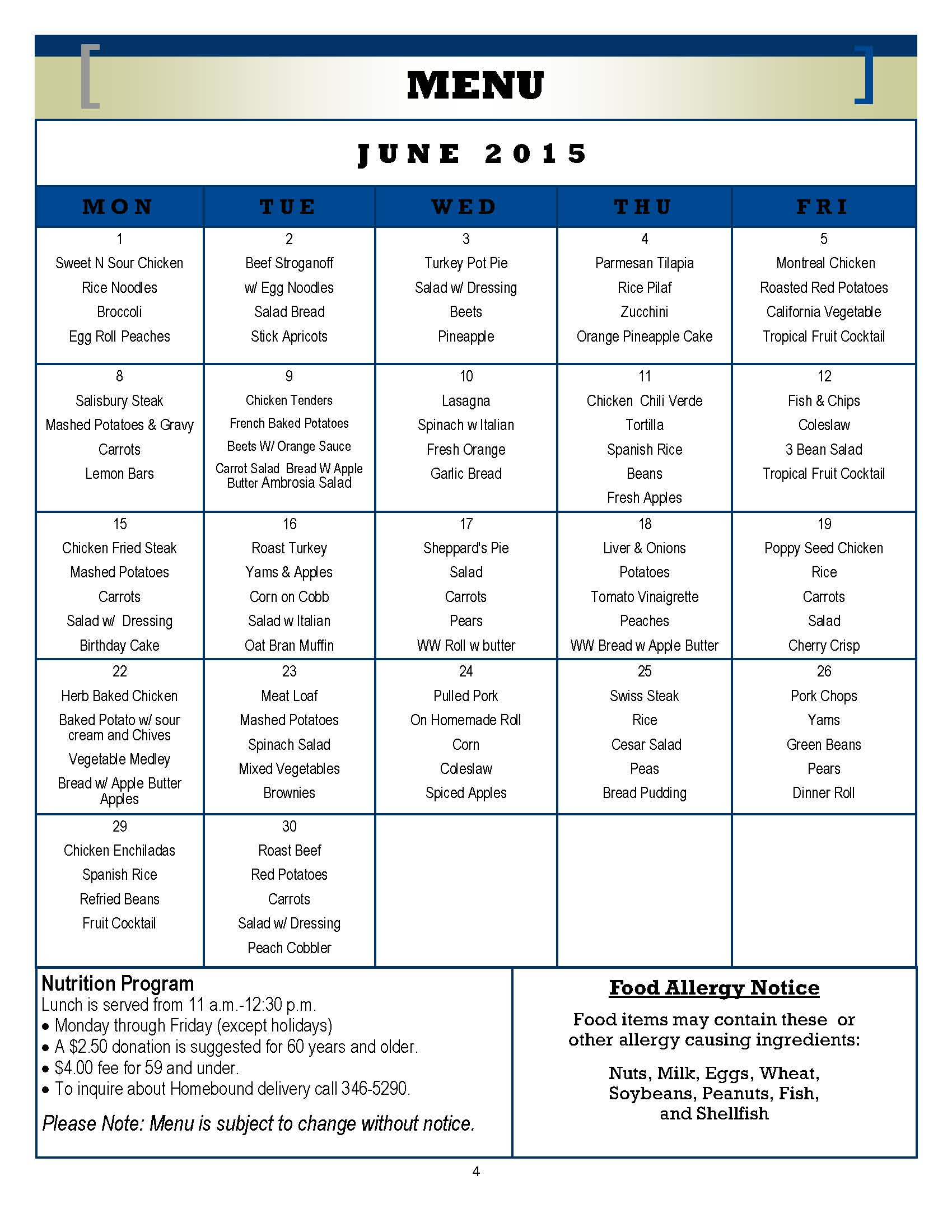 Senior Center Menu June 2015
