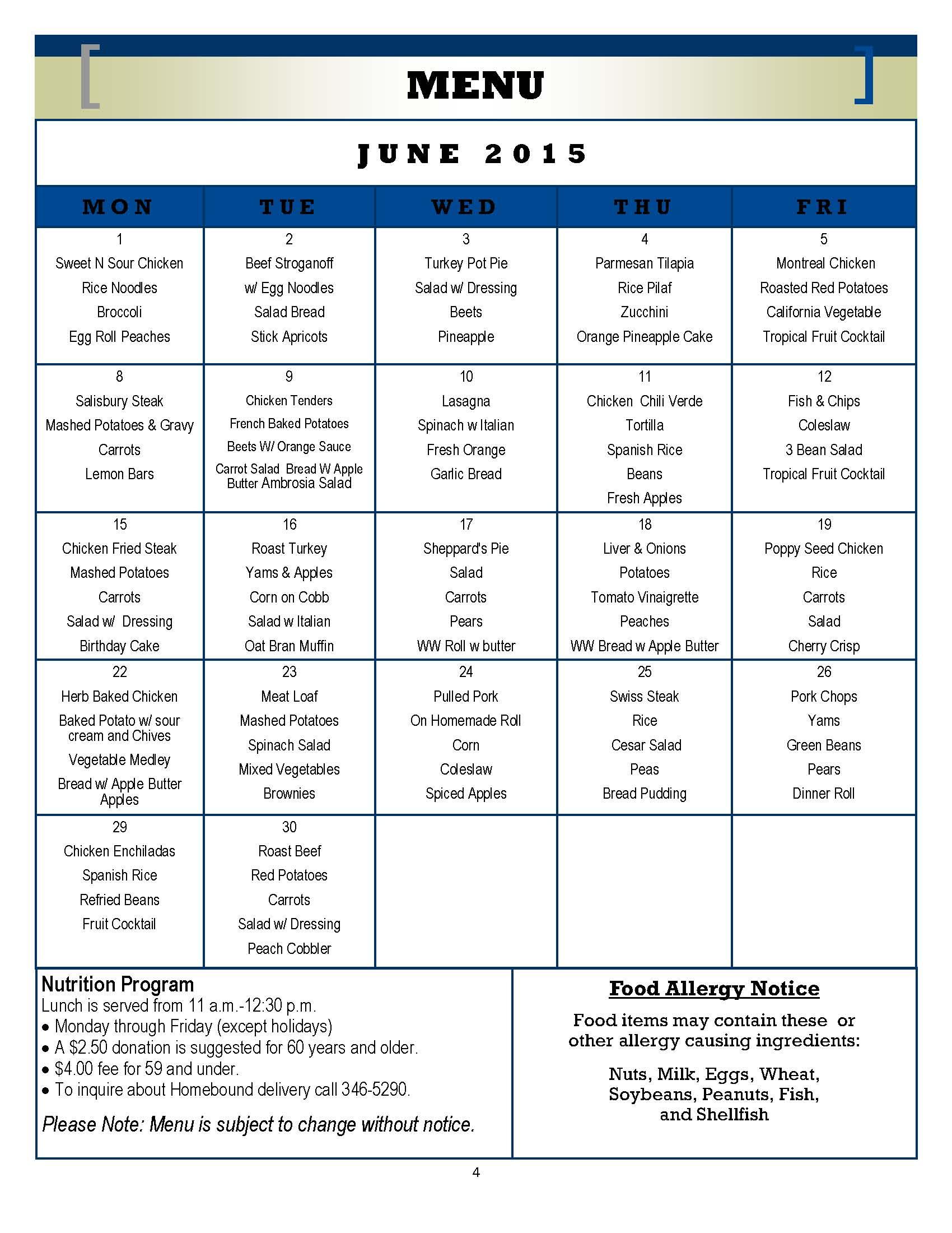 Senior Center Menu June 2015