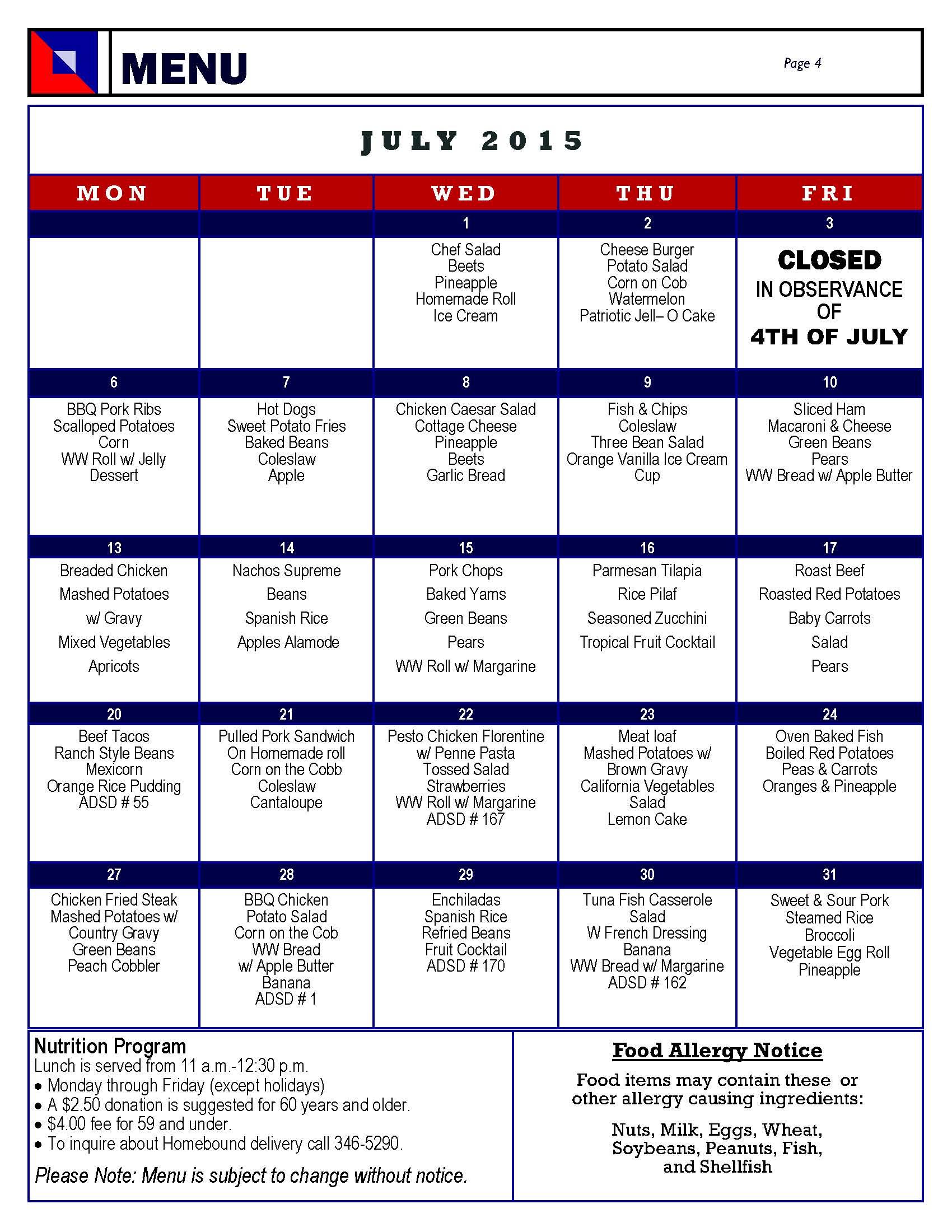 Senior Center Menu July 2015