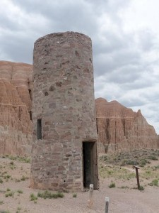 Civilian Conservation Corps built (1930s) stone and concrete water tower, Cathedral Gorge State Park, NV - May 2015
