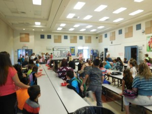 Mesquite Reads students gathered for breakfast and class assignments. Photo by Linda Faas.