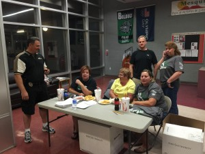 Staff from the VVHS and several officers, including Darrin Wilkins on the left and Ian Douglas on the back-right, volunteered their time to make sure the graduating class of 2015 had a safe and fun evening stretching into the early morning hours of Friday, June 5. Photo by McQuade Chesley.