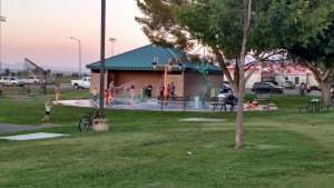 Bunkerville's Splash Pad has a lot of grass and several trees to provide some cool relief from the summer heat. Photo by Stephanie Frehner.