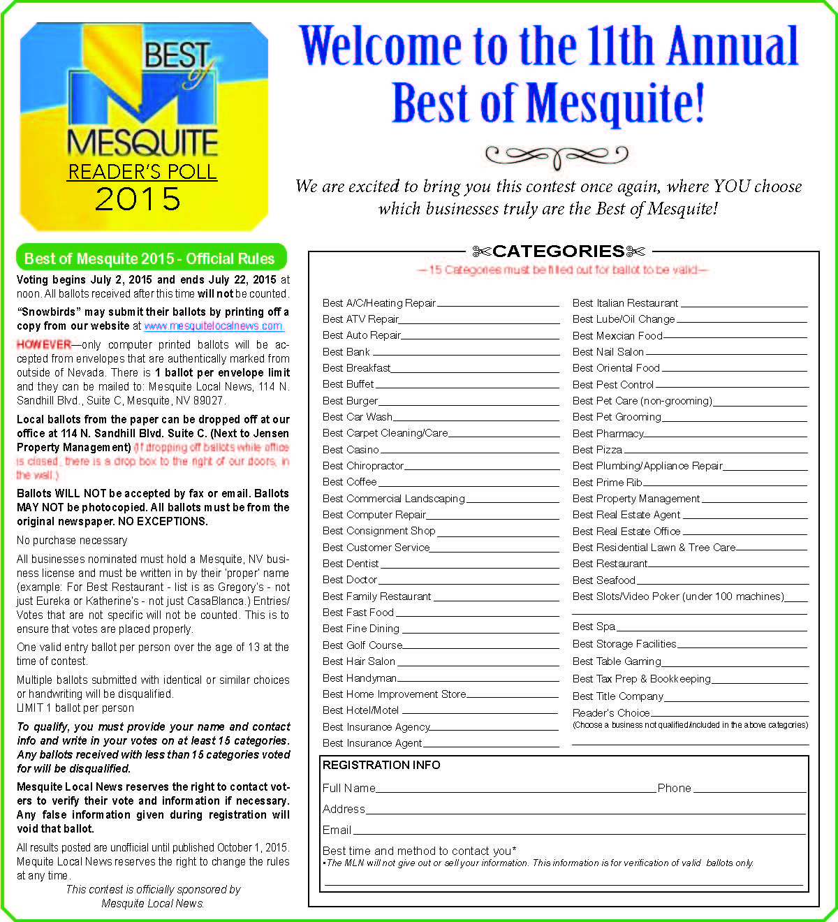 Best of Mesquite 2015 Ballot