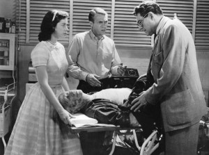 Still from The Blob with Aneta Corsaut, Steve McQueen and Stephen Chase. Olin Howland, a veteran of 200 films, plays the Blob's first victim - Fairview Productions.