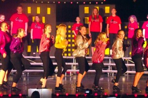 """Dancers (Not in order) Brynn Andrus, Adalynn Avila, Elise Dick, Brooke Helsten, Elizabeth Jensen, Mra eNevaeh Musser, TaLauni Orison, Kaitlynn Reber, Jocelyn Spilker, Emily Walsh and Ally Wright perform a choreographed number to """"We Go Together"""" from the musical """"Grease"""" written by Warren Casey and Jim Jacobs.  Dance numbers were choreographed by Vicki Eckman and Judy Brittain; costumes were provided by the Mesquite Toes. Photo by Teri Nehrenz"""