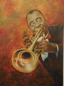 Peoples Choice  Louie Armstrong portrayed by artist Floyd Johnson. Photo by Linda Faas.