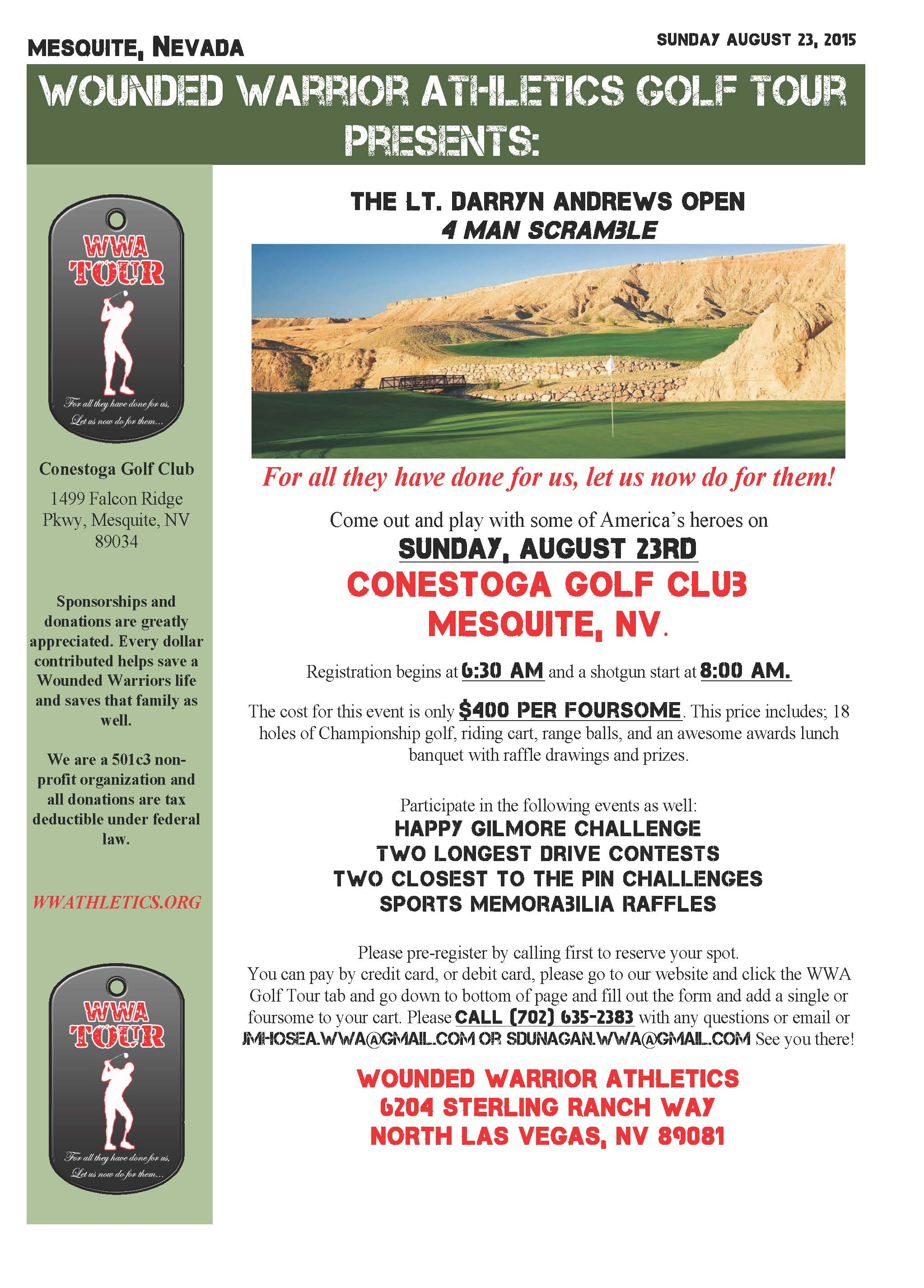 The LT. Darryn Andrews Open Golf Tournament in Mesquite