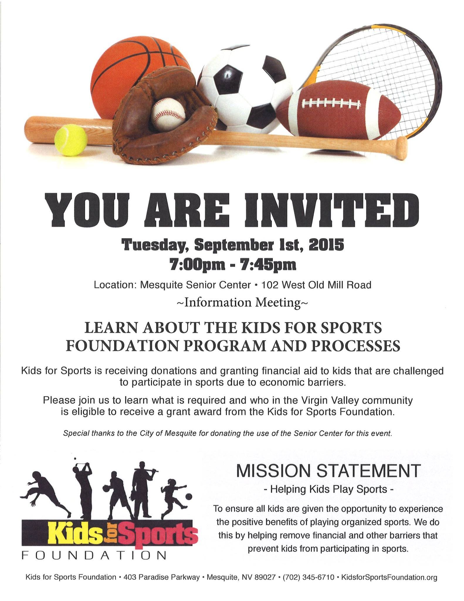 Kids for Sports Meeting Tuesday