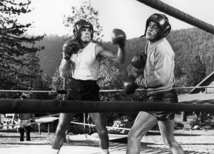 Michael Dante, left, spars with Elvis in Kid Galahad- Mirisch Corporation, United Artists