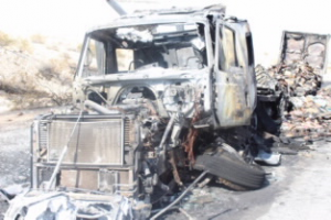 The skeleton is all that remains of the semi truck from Iowa. The fire completely engulfed the cab as well as the pork products in the trailer it was towing. Photo courtesy of Nevada Highway Patrol.