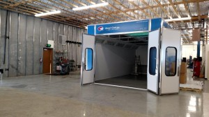 This is the new paint booth that offers ACT the ability of providing a high-quality service to their customers while saving on energy. This particular model of paint booth is double walled and has an exhaust system that is 99.8% efficient and gives off relatively less noise to the surrounding area when operational. Photo by Stephanie Frehner.