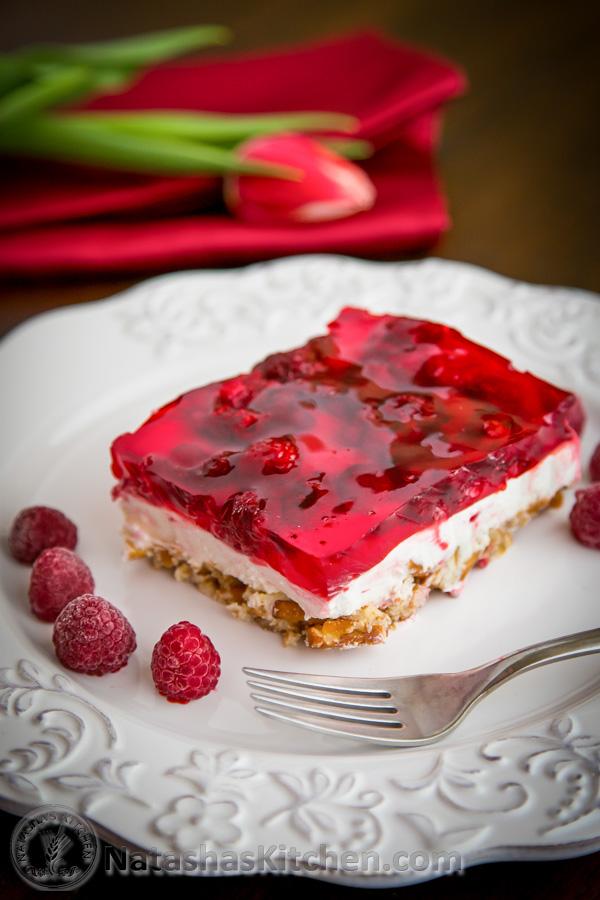 Raspberry Pretzel Jello
