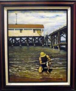 """Robert O'Neil's oil """"Fisherman"""" was one of over 100 entries into the Mesquite Fine Arts Invitational held at the Mesquite Fine Arts Gallery.  O'Neil is a member of the Boulder City Art Guild. Photo by Teri Nehrenz."""