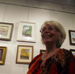 """Carol Stenger, a member of the Southern Utah Watercolor Society, displayed several painting during the Mesquite Fine Arts Invitational.  Stenger's watercolor """"Ichabod Crane"""" caught the eye of several people who attended the Invitational reception which was held at the Mesquite Fine Arts Gallery on Sep. 26. Photo by Teri Nehrenz."""