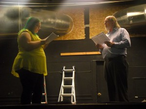 Co-Director of ANGEL STREET, Jenna Grubb, reads against VVTG newcomer, Dennis Feehan, as he auditions for the role in which he has just been cast.  Feehan has been cast in the role of Detective Rough. Photo by Teri Nehrenz.