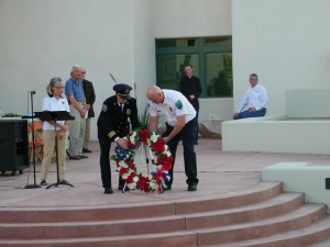 As part of last year's ceremony, Police Chief Troy Tanner and Fire Chief Kash Christopher hung a wreath in memory of those who lost their lives on September 11, 2001. Courtesy photo.