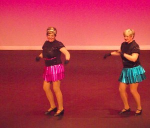 """Debbie Miller's and Judy Edgington's tapping feet shouted to the crowd, """"I've Got Rhythm"""" during their Gold Medal winning performance at the Nevada Senior Games which were held at the Clark County Library on Sep. 27. Photo by Teri Nehrenz."""