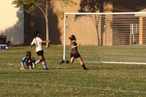 Bulldog forward Karla Correa strikes her second goal of Friday's 3-0 win over the Jaguars from Desert Pines. Photo by Lou Martin